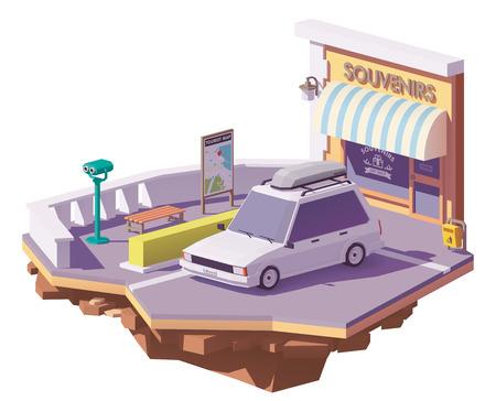 道端の視点や土産物店の近くに屋根ラック貨物ボックス付きベクトル低ポリステーションワゴン車  イラスト・ベクター素材
