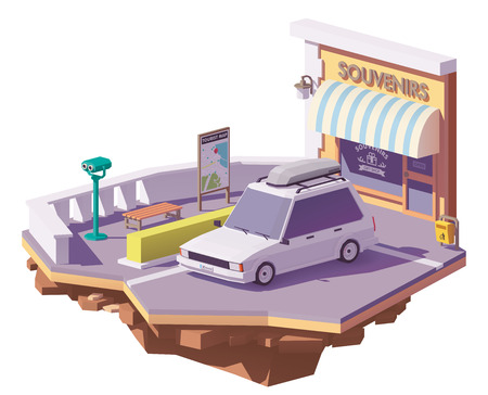 Vector low poly station wagon car with roof rack cargo box near the roadside viewpoint and souvenir shop Illustration
