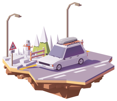 Vector low poly car traveling on the winter snowy road.