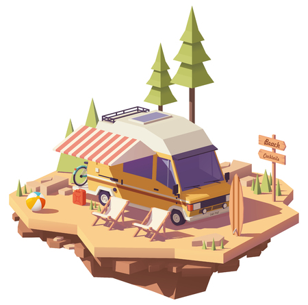 Vector low poly classic station RV camper van on the seaside camping with deckchairs and surfing board