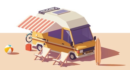 Vector low poly classic station RV camper van, deckchairs and surfing board Фото со стока - 93342105