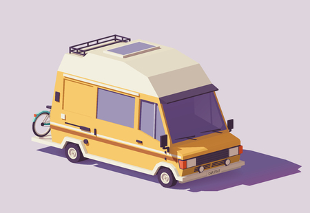 Vector low poly classic station RV camper van