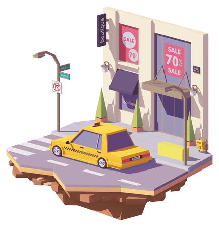 Vector low poly yellow taxi car