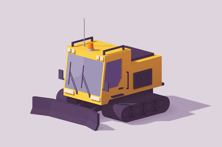Vector low poly snowcat or snow groomer prepares the ski slope