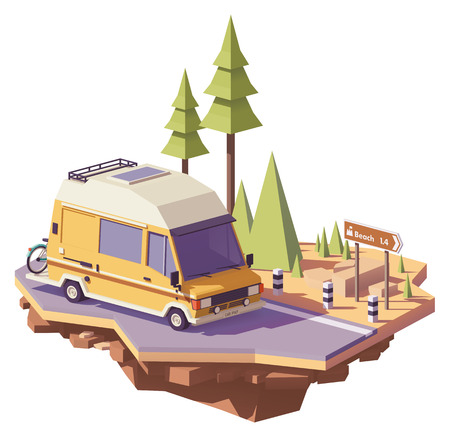 Vector low poly classic station RV camper van on the road