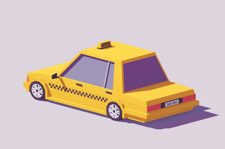 Vector low poly detailed classic yellow taxi car Çizim