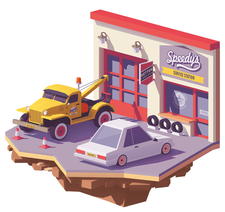 Vector low poly Automobile repair shop garage building exterior with tow truck Illustration