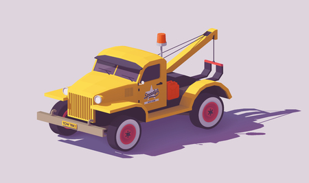 Vector low poly detailed classic yellow tow truck