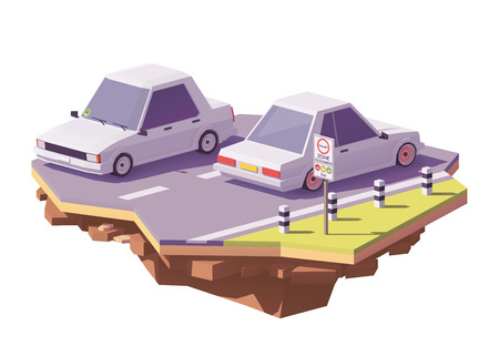 Vector low poly German low emission traffic zone or environmental zone, umweltzone and cars with environmental labels Çizim