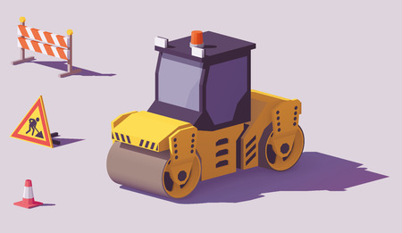 Low poly yellow road roller or asphalt compactor with road works signs vector.