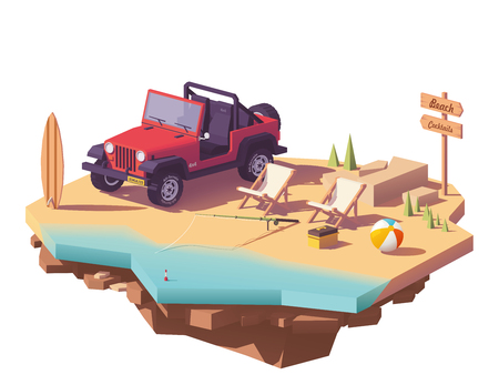 Low poly off-road vehicle on the beach seaside with deckchairs, surfing board and fishing equipment vector icon.