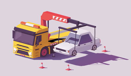 Vector low poly yellow tow truck or wrecker towing the car away.