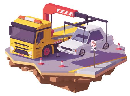 Vector niedrigen gelben Polyabschleppwagen oder Wrecker, der das Auto weg von Parkverbotszone schleppt. Standard-Bild - 93889924