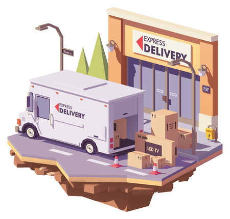 Vector low poly delivery service multi-stop truck loading with electronics in cardboard boxes in front of express mail crourier delivery office building