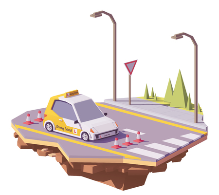 Low poly driving school car Illustration