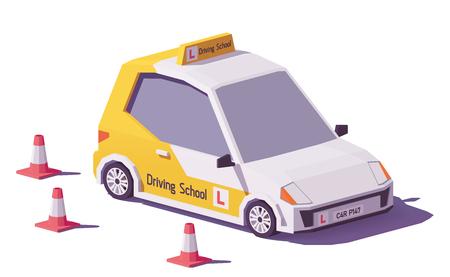 Ícone de vetor de carro de escola baixa poli condução. Ilustración de vector