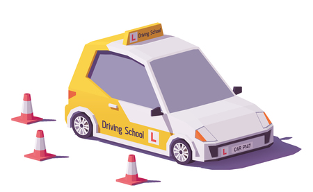 Low poly driving school car vector icon.