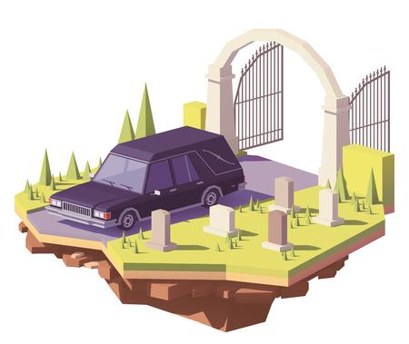 Ícone de vetor de carro fúnebre funeral baixo poli. Ilustración de vector