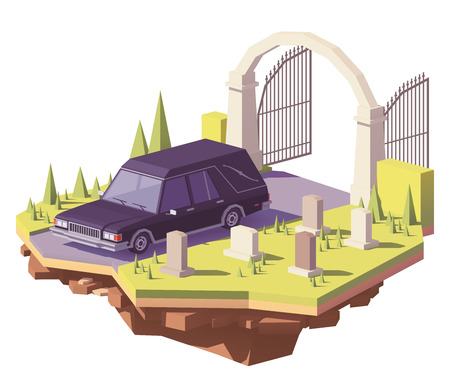 Icona di vettore di auto carro funebre basso poli basso. Archivio Fotografico - 94468866