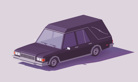 Low poly funeral hearse car vector icon.