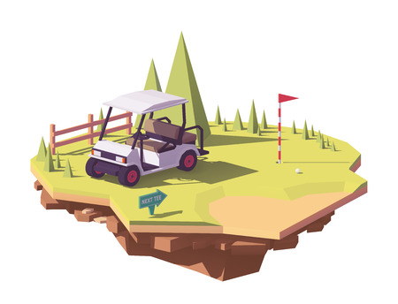 Low poly golf cart vector icon. Çizim
