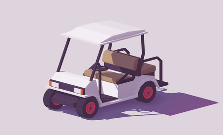 Low poly golf cart vector icon. Vectores