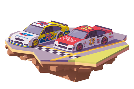 Low poly racing cars vector icon.
