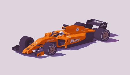 Carro de corrida de fórmula de baixo poli de vetor Foto de archivo - 94908923