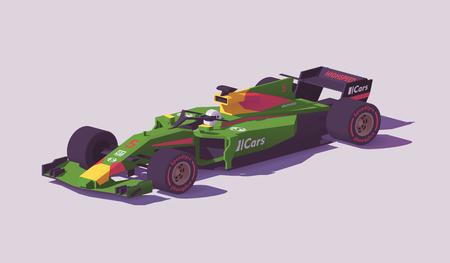 Carro de corrida de fórmula de baixo poli de vetor Foto de archivo - 94898486