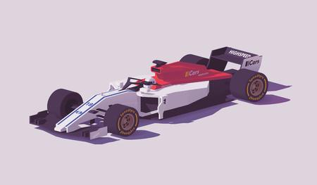 Vektor niedrige Poly Formel Rennwagen Vektorgrafik