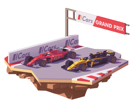 Vector low poly formula race. Illustration