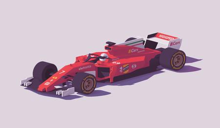 Samochód wyścigowy formuły wektor low poly
