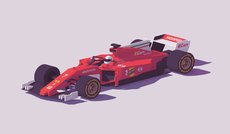 Vector low poly formula racing car Illustration