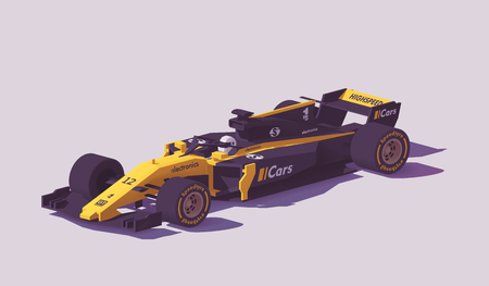 Vector low poly formula racing car illustration.