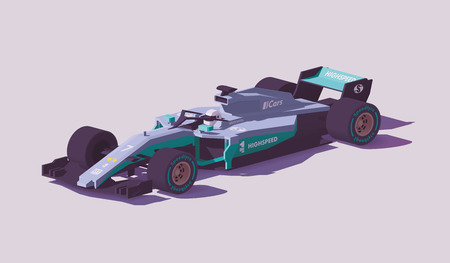 Carro de corrida de fórmula de baixo poli de vetor Foto de archivo - 94898490