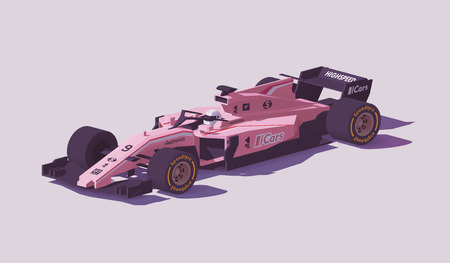 Vector low poly formula racing car Illustration