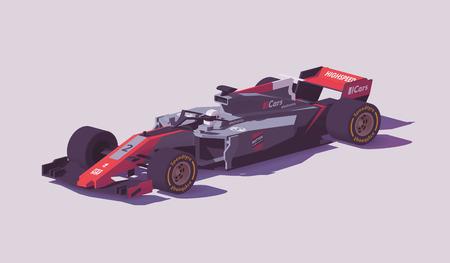 Carro de corrida de fórmula de baixo poli de vetor Foto de archivo - 94898491