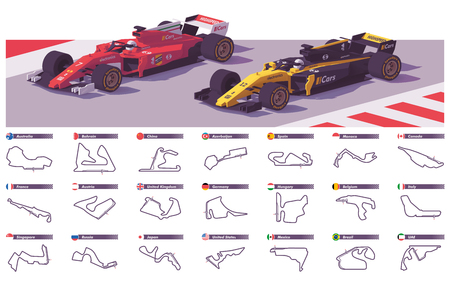 Vector motor racing tracks Stock Illustratie