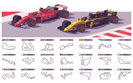 Vector motor racing tracks Illustration