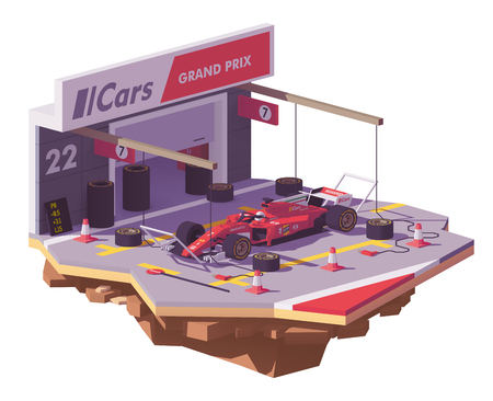 Vector low poly racing car and pit stop Stock Illustratie