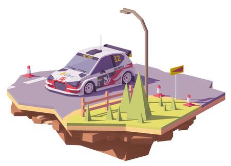 벡터 낮은 폴리 랠리 자동차 경주 스톡 콘텐츠 - 95393487