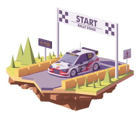 Vector low poly rally racing car in white and red livery on the rally stage start Line