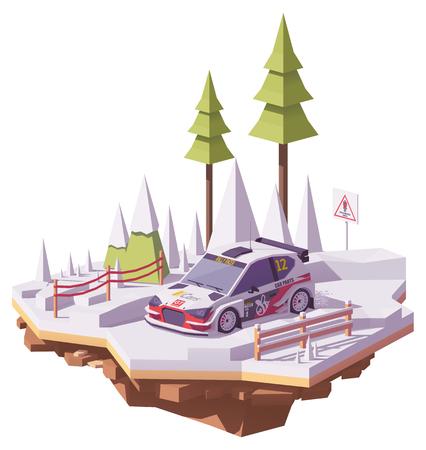 벡터 낮은 폴리 랠리 자동차 경주