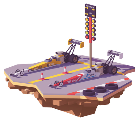 Vector low poly drag race between two top fuel dragsters on the racing track. Illustration