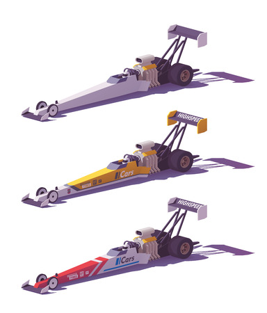 Vector low poly top fuel dragsters.