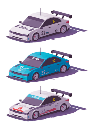 Vector low poly touring racing car in white and blue liveries. Stock Illustratie