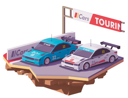 Vector low poly touring racing car on the race track. Stock Illustratie