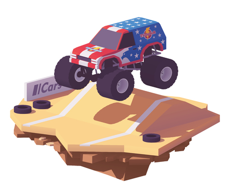 Vector low poly monster truck with shadow.