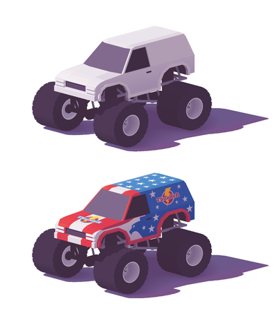Vector low poly monster truck in different liveries