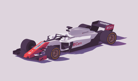 Vector low poly formula racing car in white and red livery Imagens - 96333549